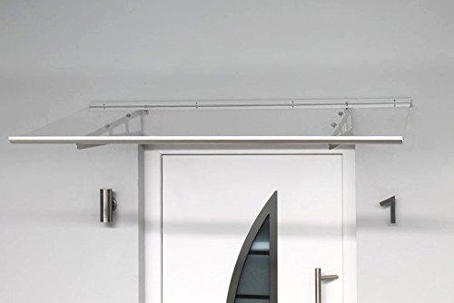 Edelstahl Pultvordach Pure silber 160 x 90 x 22,5 cm, 4 mm massive Acrylglaseindeckung,...