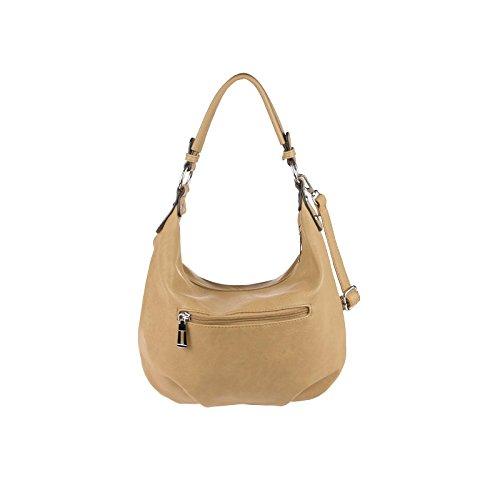 OBC Damen Tasche HANDTASCHE Shopper METALLIC Hobo-Bag Henkeltasche Schultertasche Umhängetasche CrossOver Tote-Bag Freizeit Rot Camel