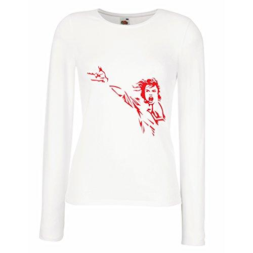 Weibliche langen Ärmeln T-Shirt Ich liebe MJ - Musikband Ware (Large Weiß Rote)