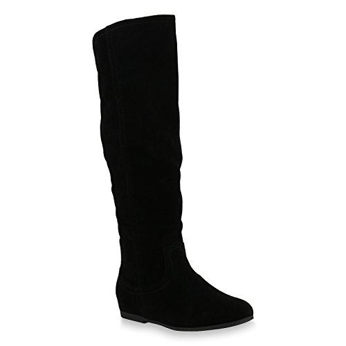 Damen Keilstiefel Leicht Gefütterte Stiefel Wedges Schuhe Zipper 153646 Schwarz Bernice 37 Flandell