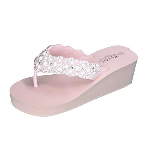iLPM5 Damen Sommer Lässig Strand Hausschuhe Mode Clip Toe Strass Rutschfeste Keile Flip-Flops(Rosa,38)