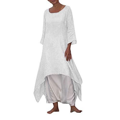 Damen Kleider-Omingkog, Kleider Lose Sommerkleid LangäRmelig Freizeit Kleid Rundhals Maxikleid Einfarbiges Partykleid Strandkleid Damen Oberteile(Weiß,M) -
