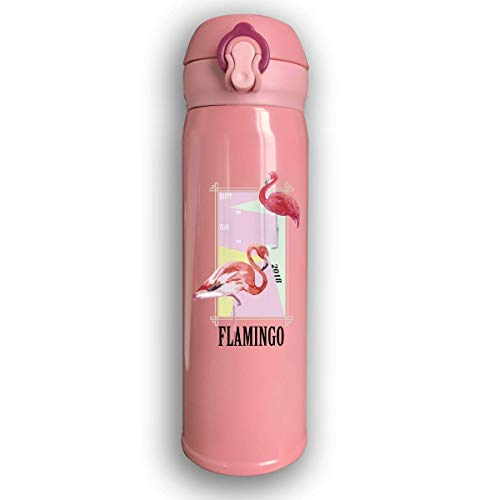 Sport-Trinkflasche, Reisebecher-Vakuumflasche, Stainless Water Bottle Thermal Insulated Cup With Bounce Cover Custom Happy New Year 2019 Pink Flamingo,17 Oz -