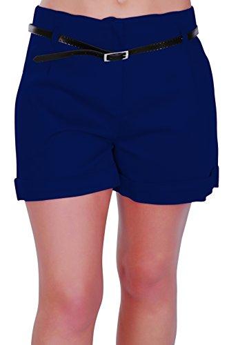 Eyecatch - Kuba Damen Shorts mit Gürtel Frauen Smart Turn Up heiße Hosen (Navy Hose Frauen)