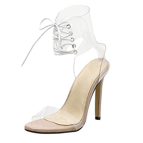 UFACE RöMersandalen Mit Hohen AbsäTzen RöMische Schnalle Schuhe Frauen Sandalen Sexy High Heels Frau Stiefeletten (36, Khaki)