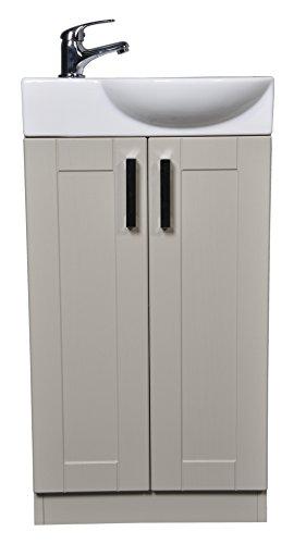 Grey Green Shaker 450mm Cloakroom Bathroom Vanity Unit Curved Basin Sink Tap - Left Hand Basin Rio Tap