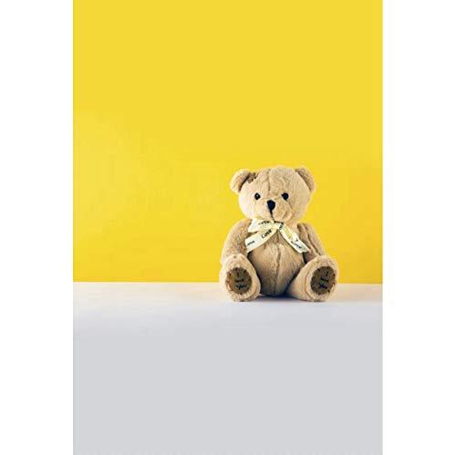 OERJU 1,5x2,2m Fotografie Hintergrund Gelbe Tapete Grauer Boden Teddybär Krawatte für Geburtstagsfeier Babydusche Hochzeit Erwachsene Haustier Porträt Produkt Schießen Hintergrund Foto