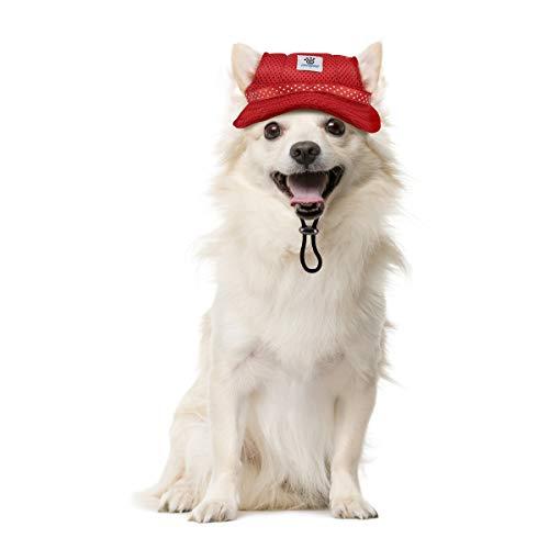Vavopaw Sonnenschutzmütze für Hunde, Einstellbar Prinzessin Kappe mit Ohrlöcher, Mesh-Stoff Hut Sonnenhut Geeignet für Festlich Verkleiden, Party oder Spaziergang, Klein, Rot - Natürliche Einstellbare Hut