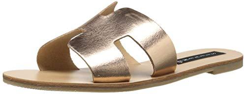 Steve Madden Flache Schuhe (STEVEN by Steve Madden Frauen Greece Offener Zeh leger Flache Sandalen Gold Groesse 7 US /38 EU)