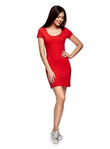 oodji Ultra Damen Enges Jersey-Kleid Rot (4500N)