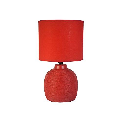 Homea Keramik Tischlampe 33cm Tischleuchte Stein Optik (Rot)