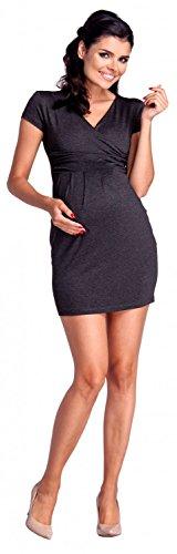 Zeta Ville Damen - Umstands Gerafftes Tulpenkleid mit Taschen Schwangere - 806c Graphit Melange