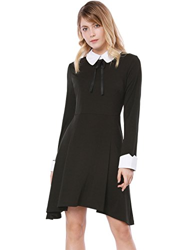 Allegra K Damen A Linie Patchwork Kragen Asymmertrisch Minikleid Kleid, XL (EU - Wednesday Addams Kostüm