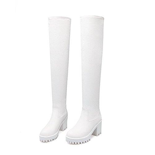 Voguezone009 Femme Plateforme Pure Round Toe Pull Bottes Blanc