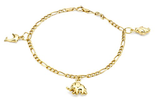 Carissima Gold 9ct Yellow Gold Animal Charm Bracelet of 18cm/7""