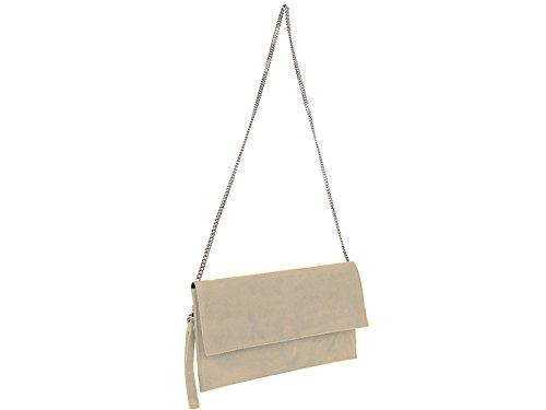 scarlet bijoux Clutch, Damen Handtasche, Abendtasche, Clutches, Party-Bags, Unterarmtaschen, Trend-Bags, Velours, Veloursleder, Wildleder, Leder Tasche beige 31 x 17 x 1 cm (B x H x T)