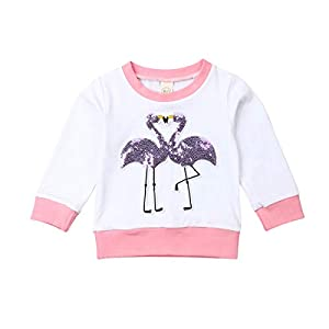 Camiseta Bebé Niña Sudadera sin Capucha de Manga Larga Top Ropa Invierno para Niñas Pequeñas Camiseta con Patrones Flamencos de Lentejuelas (6 Meses - 4 Años) 13