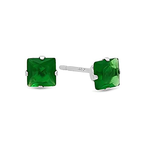 Princess Cut Simulated Emerald Green 4mm CZ Sterling Silver Stud Earrings