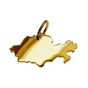 Anhänger Gold 585 Landkarte KASACHSTAN Anhänger in massiv 585 Gold