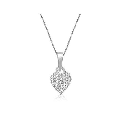 0.13ct G/VS1 Diamant Anhänger für Damen mit runden Brillantschliff diamanten in 18kt (750) Weißgold mit Halsband