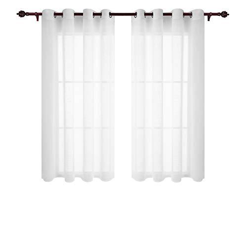 Doconovo Visillos para Ventanas Dormitorio con Ojales 140 x 180 cm 2 P