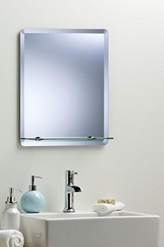 Specchio da parete rettangolare da bagno moderno alla moda con mensola e smussato, 3dimensioni–70cm x 50cm, 60cm x 45cm o 50cm x 40cm em1002, metallo, silver, 50cm x 40cm