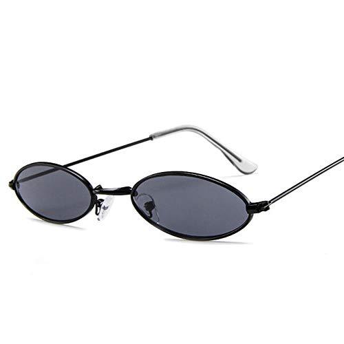 ZHOUYF Sonnenbrille Fahrerbrille Herren Kleine Ovale Sonnenbrille Herren Vintage Metallrahmen Gelb Rot Retro Kleine Runde Sonnenbrille Damen, A