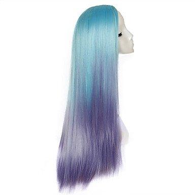 OOFAY JF-Meerjungfrau Perücke Cosplay lila Haare Gradienten Highlights Animelattich Hochtemperatur-Draht synthetische (Erwachsene Wellen Meerjungfrau Perücke)
