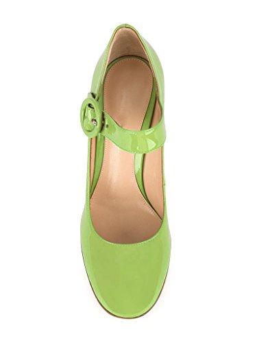 EDEFS Escarpins Femme Bride Cheville Boucle Bout Rond Mary Janes Chaussures Pompes a Talon de Mariee Mariage Citron Vert