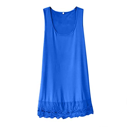 Yvelands Damen Tanktop Ärmel T-Shirt Boho Sommer-beiläufige Knopf-Strand-Kleid(Blau,XXXXL)
