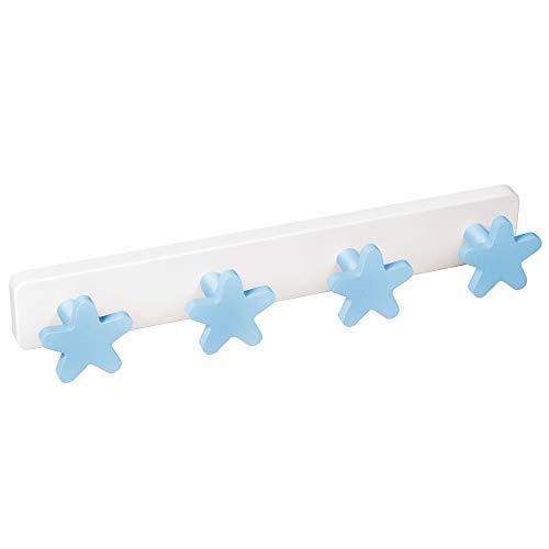 PERCHA Pared habitación BEBÉ Estrellas azules madera lacada con base plástico resina ABS 410x60MM