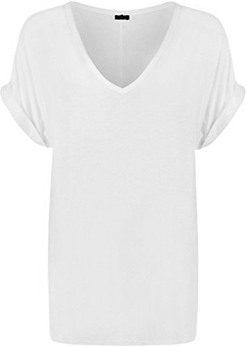New Ladies Women V Neck Turn Up Short Sleeve Baggy T-Shirt Top Plus Size UK 8-26 (20-22, White)