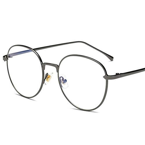Easy Go Shopping Kreisglasrahmen-weibliche Blaue Glas-allgemeine Computer-Schutzbrillen-Männer und Frauen (Farbe : Grau, Größe : Free Size)