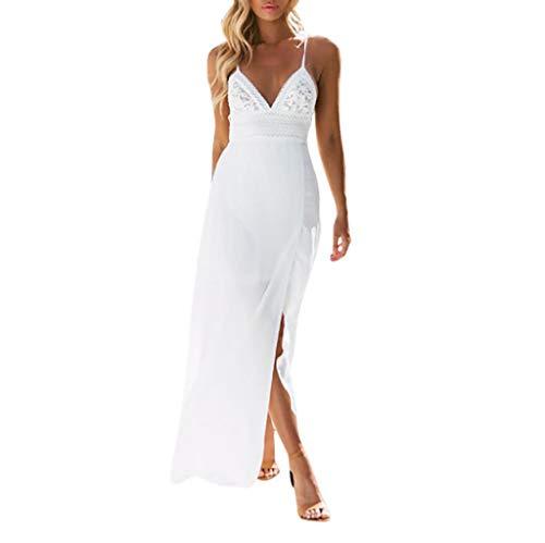 Overdose Vestidos Blancos Mujeres Encaje Sexy Seda Camisola Empalme Si