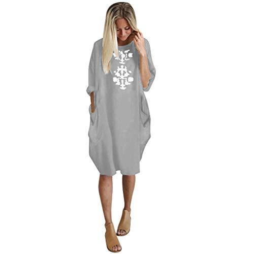 Andouy Damen Lässige Tasche T-Shirt Langarm Einfarbig Super Comfort Rundhals Übergroß Gr.40-48 Kleid Tops(XL(46.Grau-Druck (Usher Kleid)