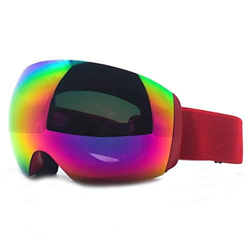 LQLQL Skibrille, Skibrille für Herren und Damen mit großem sphärischem Rahmen für Skifahren, Snowboarden, Motorschlittenfahren, UV400-Schutz und Antibeschlag-Doppelscheibenbrille, Stil 04