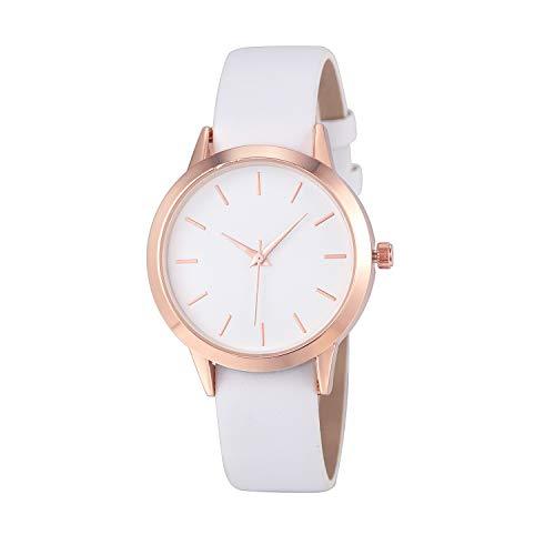 Luckhome Damenuhr Uhr Analog Quarzwerk Mit Leder Armband Date Luxus Frauen Männer Einfacher Quarzanaloge Gold Lederband Armbanduhren(Weiß)