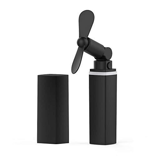 Jenny.Ben Mini-Lüfter USB Pocket Handheld Electric 4 Farben Lippenstift USB-Lüfter Kühler Wiederaufladbare Home Office Mini-Lüfter Portable Mute@Schwarz