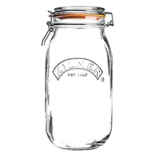 Kilner Round Glass Clip Top Jar with Airtight Rubber Seal, 2 Litre