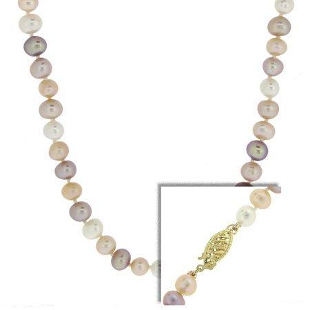 14 k or véritable 6–7 mm Multicolore-Collier de perles de