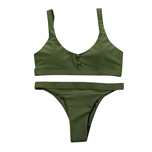 POIUDE Damen Bademode Push Up Sexy Bikini Set Zweiteilige Badeanzug Strandkleidung Strandmode Split Bikinihose(Army Green, Large)