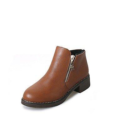RTRY Scarpe Donna Pu Inverno Comfort Moda Stivali Stivali Blocco Tacco Punta Tonda Babbucce/Stivaletti Zipper Per Casual Nero Marrone US6 / EU36 / UK4 / CN36