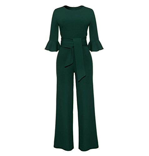 Zkoo donna tuta elegante pantaloni lungo aderente partito sexy tuta jumpsuit con cintura abito cerimonia