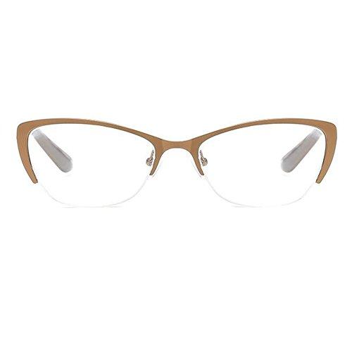 Haodasi Katzenauge Lesebrille Metall Halbrahmen Klare Linse Brillen Brillen Stärke +1.0 bis +4.0
