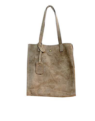 Oktradi® Damen Shopper Leder Wildleder Schultertasche Handtasche Ledertasche Laptoptasche Beutel 30 x 34 x 11 cm Made in Italy (Braun) - Wildleder-laptop-tasche