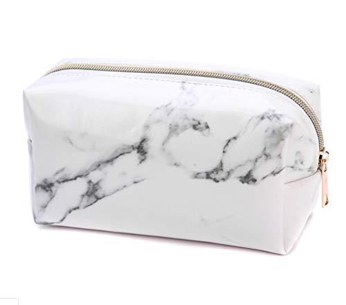 CHIRORO Marmor Textur PU Federmappe Mäppchen Große Kapazität Kosmetiktasche Make-up Tasche Schminktasche Waschbeutel Aufbewahrung Kleine Kulturtasche mit Reißverschluss,Weiß