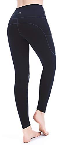 PUNZYMO Leggings Damen Yoga Sport Knöchellang Blickdichte Leggins Lang Yoga Tights Viele Größen, Schwarz, M