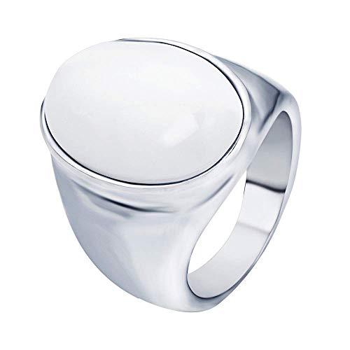Onefeart Titan Ring zum Männer Junge Oval Gestalten Miniatur Design Retro Gotisch Stil Hochzeitsband Größe 54 (17.2) Weiß