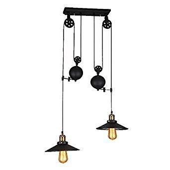 16-gauge-stahl Licht (Vintage PendelleuchteIndustrie-Kronleuchter mit RiemenscheibeBars Restaurants Club Dekoration E27 Edison PendelleuchteIndustrie-Metall-Pendelleuchte mit verstellbarem Schwarz)