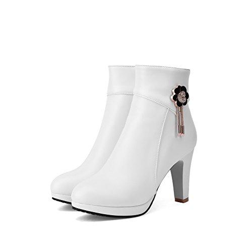 VogueZone009 Donna Bassa Altezza Puro Cerniera Punta Tonda Tacco Alto Stivali con Talismano Bianco